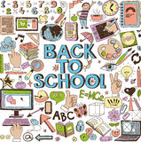 Back to School. Doodle set, concept background. Isolated on white background vector illustration