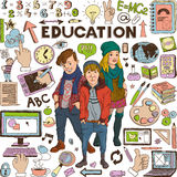 Back to School. Doodle set, education concept, Group of modern teenagers vector illustration