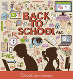 Back to School. Doodle set, education concept, silhouettes of students stock illustration