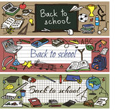 Back to school doodle set. Back to school had drawn doodle set of banners. Vector illutration Royalty Free Stock Photography
