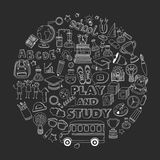 Back to School doodle set. Linear icons Royalty Free Stock Images