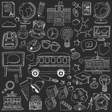 Back to School doodle set. Linear icons Stock Photos