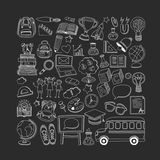Back to School doodle set. Linear icons Stock Photography