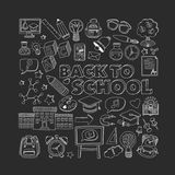 Back to School doodle set. Linear icons Royalty Free Stock Image