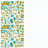Back to School doodle set. Linear icons Royalty Free Stock Photography