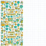 Back to School doodle set. Linear icons Royalty Free Stock Photo