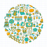 Back to School doodle set. Linear icons Royalty Free Stock Photos