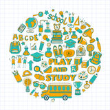 Back to School doodle set. Linear icons Stock Image