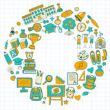 Back to School doodle set. Linear icons Stock Photo