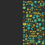 Back to School doodle set. Linear icons Stock Images