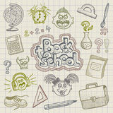 Back to school doodles. Illustration of hand drawn funny school element doodles Royalty Free Stock Image