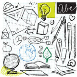 Back to school doodles. (math, geometry, geography etc. symbols Stock Image