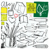Back to school doodles. (pen, pencils, book, paper etc Royalty Free Stock Photos