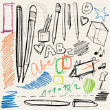 Back to school doodles. Pencils, pens and scribblings Royalty Free Stock Images