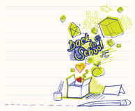 Back to school doodles. (out of box objects Royalty Free Stock Image