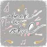 Back to School Doodles with bell, stars,hearts and arrows. Vector illustration. Design Elements. Vector Back to School doodles. Pastel backdrop Royalty Free Stock Photo