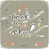 Back to School Doodles with bell, stars,hearts and arrows. Vector illustration. Design Elements. Vector Back to School doodles. Pastel backdrop Royalty Free Stock Image