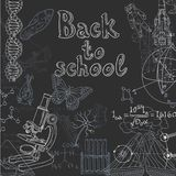 Back to school doodles on a blackboard Royalty Free Stock Images