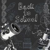 Back to school doodles on blackboard Stock Photography