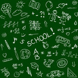 Back to school doodles on blackboard, seamless pattern. Vector i Royalty Free Stock Image