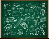 Back to school doodles on board. Back to school hand drawn doodles illustration royalty free illustration