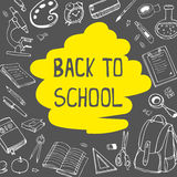 Back to school doodles on chalkboard background with yellow underline. Vector hand drawing illustration. Back to school doodles on chalkboard background with Royalty Free Stock Photography