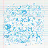 Back to School doodles elements, set of labels and icons. Vector illustration. Royalty Free Stock Photos