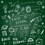 Back to school doodles. Hand drawn school icons set. Sketch school icons set. Vector illustration. Royalty Free Stock Photography