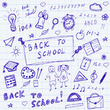 Back to school doodles. Hand drawn school icons set. Sketch school icons set. Vector illustration. Stock Photography