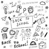 Back to school doodles. Hand drawn school icons set. Sketch school icons set. Vector illustration. Stock Photos