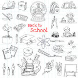 Back to School Doodles. Hand-Drawn Vector Illustration Design Elements Royalty Free Stock Image
