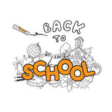 Back to School Doodles. Hand-Drawn Vector Illustration Design Elements Royalty Free Stock Photography
