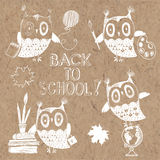 Back to School, doodles  illustration with owls on kraft b Royalty Free Stock Image