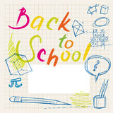 Back to school doodles - label. Back to school doodles (background & border Royalty Free Stock Photography