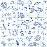 Back to school doodles in notebook, seamless pattern. Vector illustration Stock Photos
