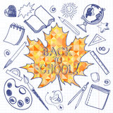 Back to School doodles seamless background with mosaic maple lea Royalty Free Stock Photo