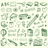 Back to school doodles set. Collection Royalty Free Stock Images