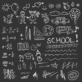 Back to school doodles set on blackboard. Vector illustration. Back to school doodles set on blackboard. Vector Stock Images