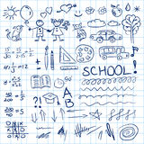 Back to school doodles set in notebook. Vector illustration. Stock Images