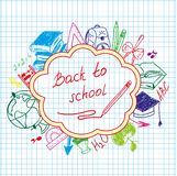 Back to school drawing by hand in a notebook Stock Photography