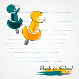 Back to school drawing pins Royalty Free Stock Images