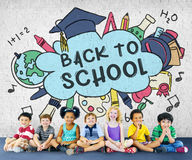 Back To School Education Academiccs Study Concept. Children Going Back To School Education Learning Study Royalty Free Stock Image