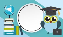 Back to School Education Background with Frame. Vector Illustration Royalty Free Stock Images