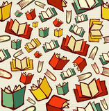 Back to school education cartoon books seamless pattern backgrou Stock Images