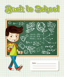 Back to school education cartoon kid. Stock Photo