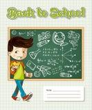 Back to school education cartoon kid. Stock Photo