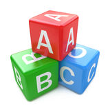 Back to school and education concept: ABC color glossy cubes wit. H letters on white background stock illustration