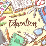 Back to School Education Concept. Hand Drawn Background with Books, Notebook and Pen Stock Image