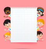 Back to school and education concept, Happy cartoon group of kid Royalty Free Stock Photo