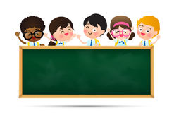 Back to school and education concept Happy cartoon kids in stude Stock Photos